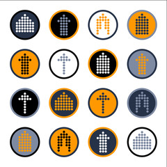 Arrow sign vector icon set. Simple circle shape internet button.