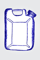 hand draw sketch white plastick containter on grey background