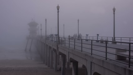 Huntington Beach Pier Time Lapse Fog