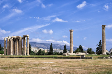 The ancient temple of the Olympian Zeus, in Athens, Greece