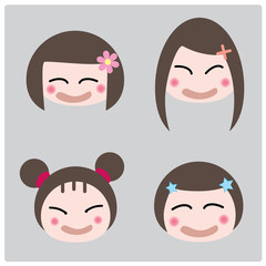 illustration cartoon girl faces icon on gray background