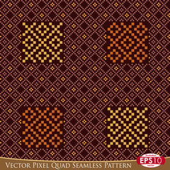 Vector Pixel Quad Seamless Pattern D