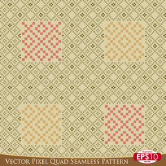 Vector Pixel Quad Seamless Pattern E