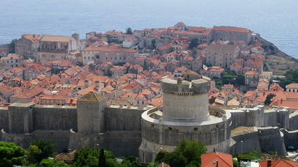 Panorama with Minceta Tower in Dubrovnik old town