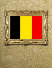 Flag from Belgium exposition in gold frame
