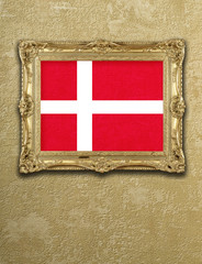 Flag from Denmark exposition in gold frame