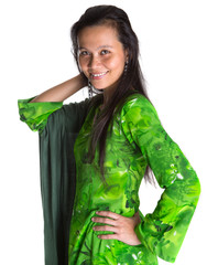 Asian Malay woman in a green national Malaysian dress