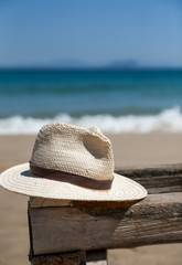 Hat on table at beach