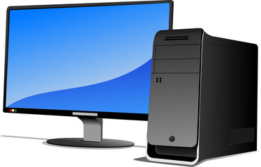 Flat computer monitor. Computer. Vector illustration