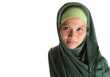 Muslim woman in green hijab over white background