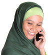 Muslim woman in hijab with a smartphone