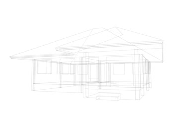 my artwork drawing house on white background