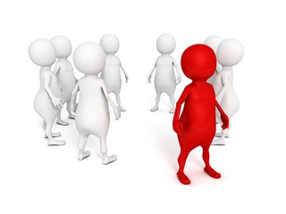 individual red 3d man standing out from crowd