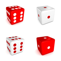 set of red and white game dices