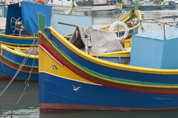 A luzzu, traditional fishing boat from the Maltese islands