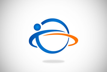 people in circle globe orbit vector logo