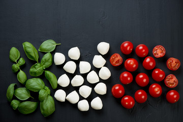 Italian flavors: green basil, mozzarella and cherry tomatoes