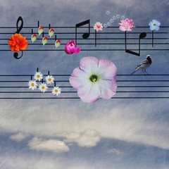 notes decorated with flowers on sky background