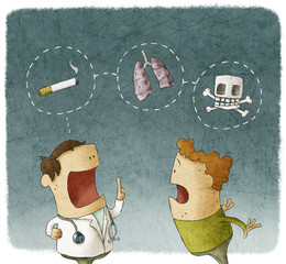 Doctor explaining to a patient the risks of smoking