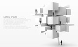 Fototapety Vector 3D illustration of businessman on the geometric cubes