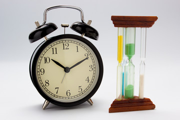 Clock with sand timer