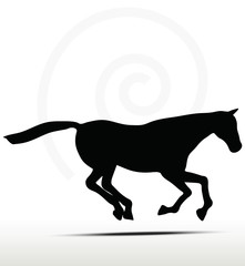 horse silhouette in Gallop position