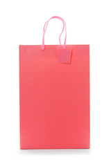 Pink shopping paper bag on isolated background