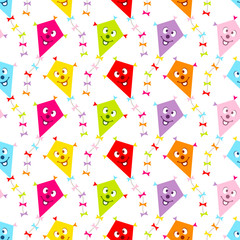 Seamless Pattern Kites Face Color