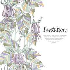 Vector invitation card with unusual flowers