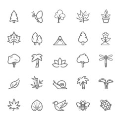 Set of  Outline Stroke Natural Icons