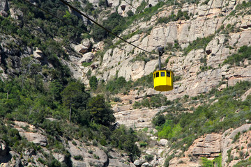 Yellow funicular in Montserrat Mountains