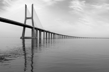 Long Bridge. Lisbon, Portugal. monochromatic picture