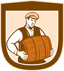 Bartender Carrying Keg Shield Retro