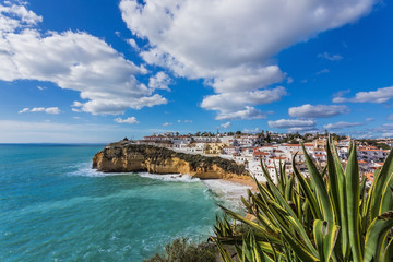 Beach of Carvoeiro in Portugal. Marine street scene.