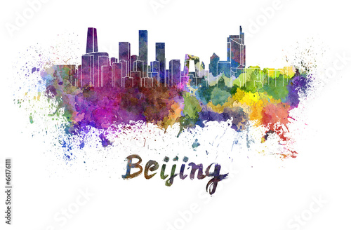 Foto op Aluminium Beijing Beijing skyline in watercolor