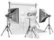 3D white people. Photographer studio