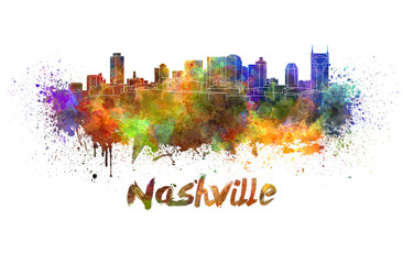 Nashville skyline in watercolor