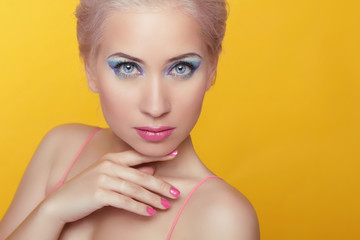Beauty model woman portrait. Makeup. Attractive young female iso