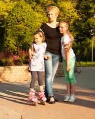 Caucasian family, outside