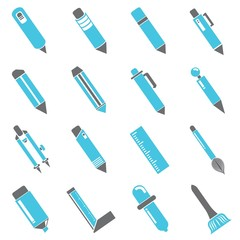 pen icons, gray and blue color icons