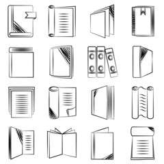 document and book icons, sketch icons