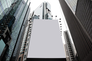 Blank billboard in a city