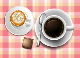 A topview of a table with a coffee, cookie and a creamer