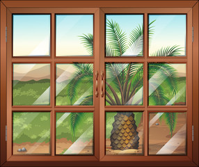 A window with a view of the palm plant outdoor