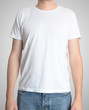 Man wearing blank t-shirt isolated on gray