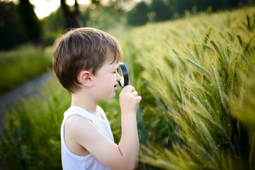 little boy watching rye with a magnifying glass