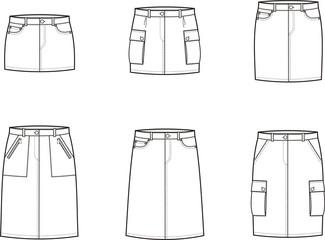 Vector illustration of women's sport skirts