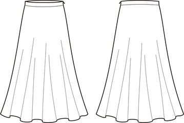 Vector illustration of women's long skirt