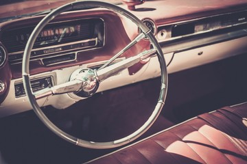 Interior of a classic american car