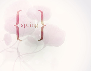 SPRING in brackets / Romantic floral background